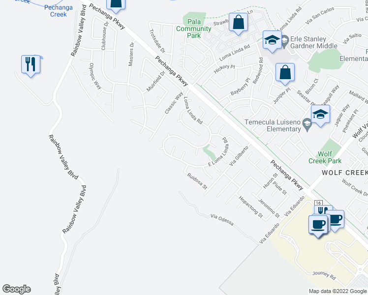 map of restaurants, bars, coffee shops, grocery stores, and more near 45349 Tejon Court in Temecula