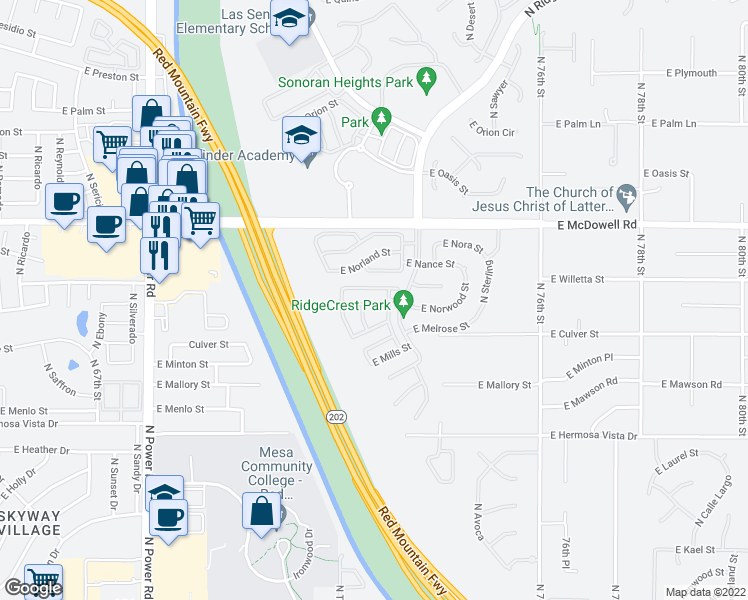 map of restaurants, bars, coffee shops, grocery stores, and more near 7248 East Norwood Street in Mesa