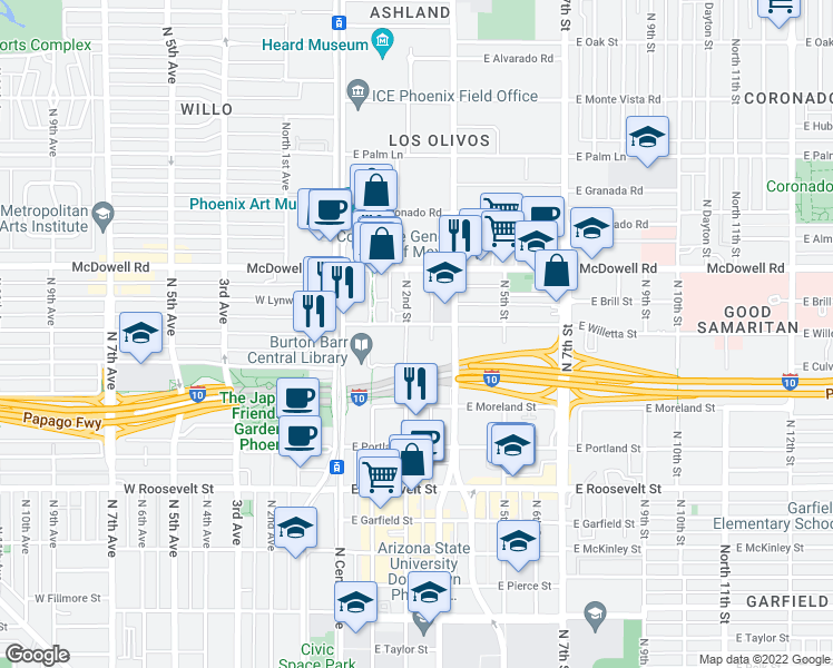map of restaurants, bars, coffee shops, grocery stores, and more near 1313 North 2nd Street in Phoenix