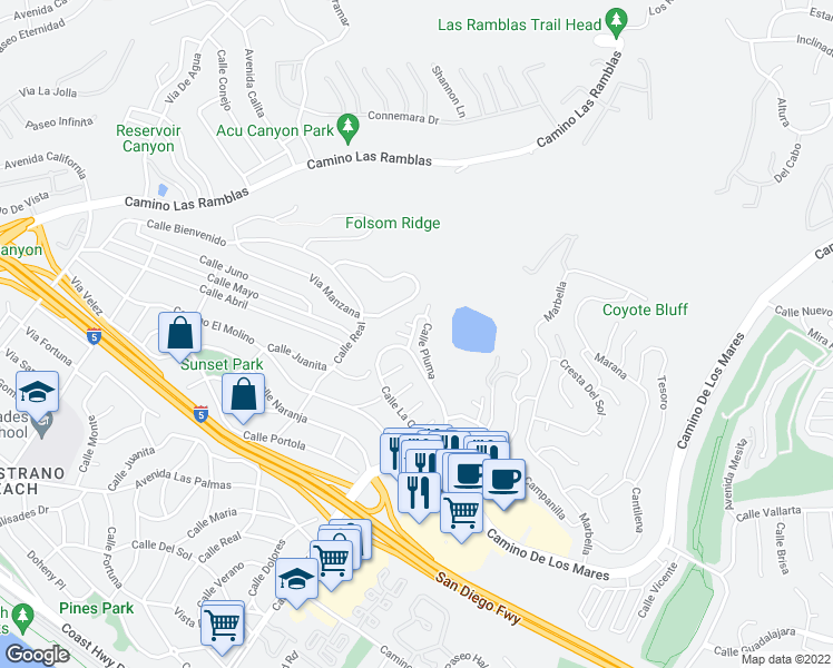 map of restaurants, bars, coffee shops, grocery stores, and more near 875 Calle Pluma in San Clemente