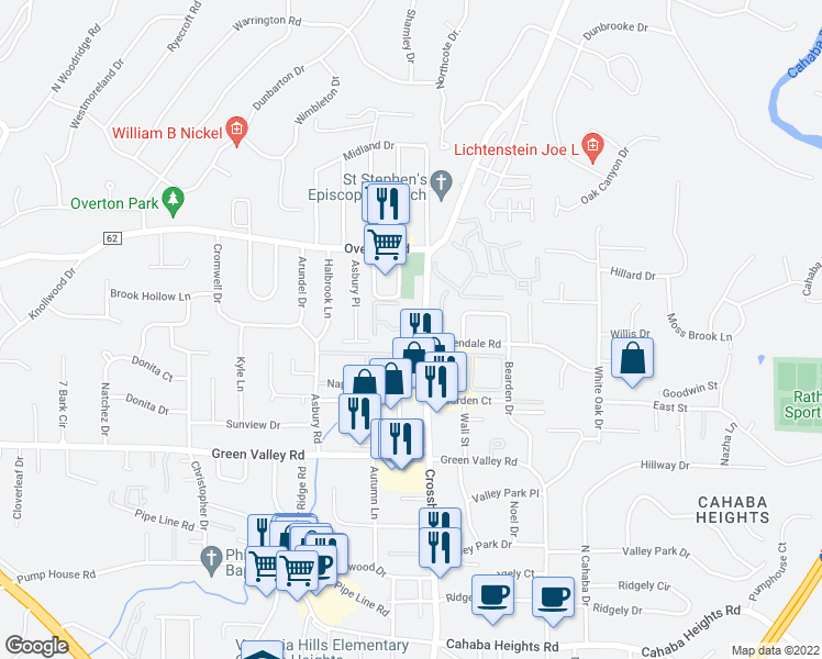 map of restaurants, bars, coffee shops, grocery stores, and more near 3860 Crosshaven Drive in Vestavia Hills