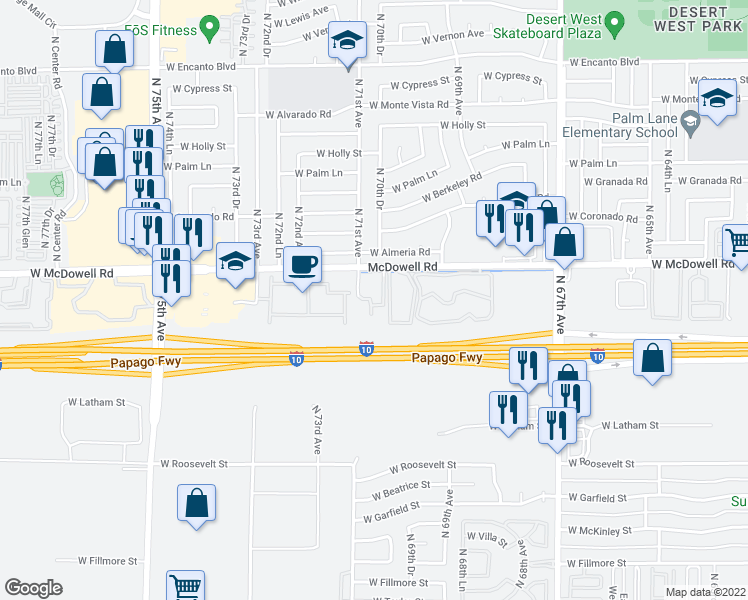 map of restaurants, bars, coffee shops, grocery stores, and more near 7077 West McDowell Road in Phoenix