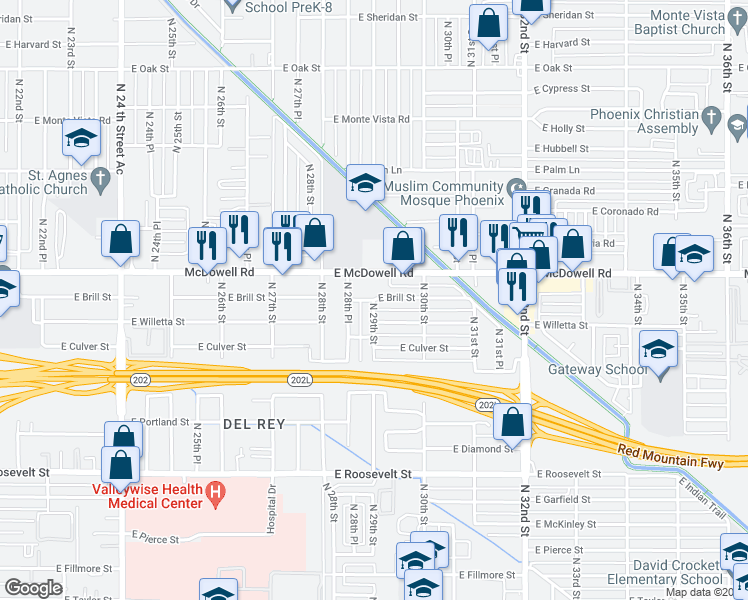 map of restaurants, bars, coffee shops, grocery stores, and more near North 29th Street in Phoenix