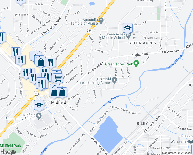 map of restaurants, bars, coffee shops, grocery stores, and more near 1321 Creel Street in Birmingham