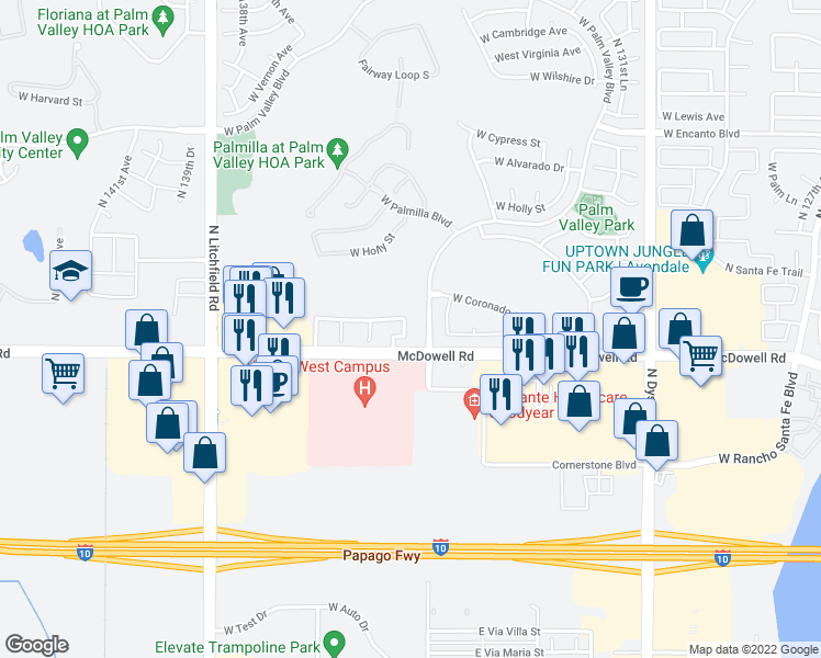 map of restaurants, bars, coffee shops, grocery stores, and more near 13542 West Desert Flower Drive in Goodyear