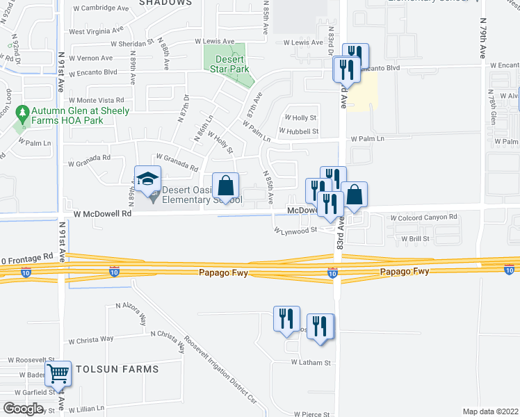 map of restaurants, bars, coffee shops, grocery stores, and more near 8550 West McDowell Road in Phoenix