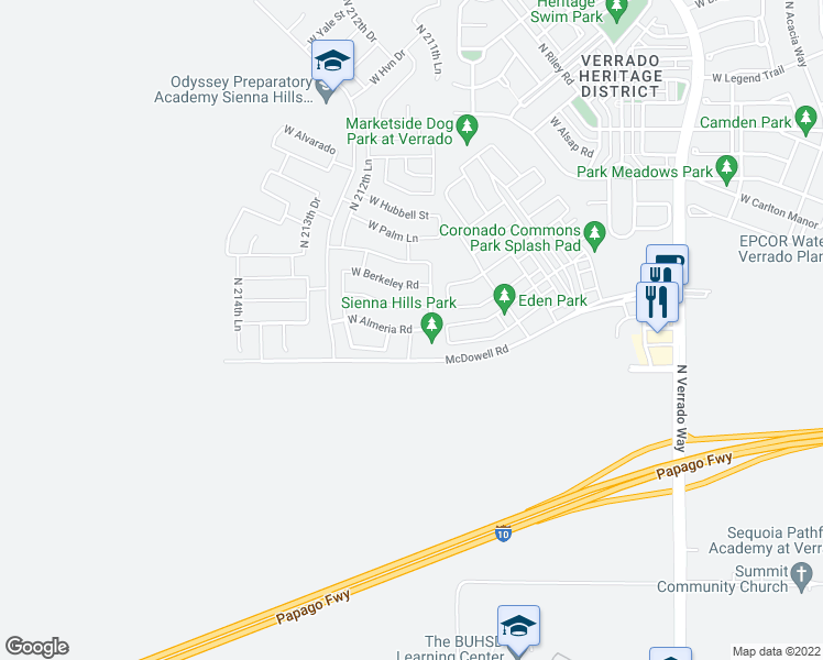 map of restaurants, bars, coffee shops, grocery stores, and more near 21057 West Almeria Road in Buckeye