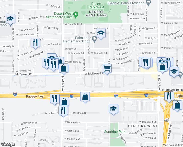 map of restaurants, bars, coffee shops, grocery stores, and more near 6433 West Almeria Road in Phoenix