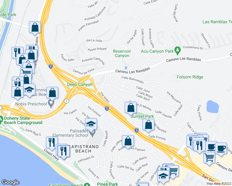 map of restaurants, bars, coffee shops, grocery stores, and more near 26671 Via Sacramento in Dana Point