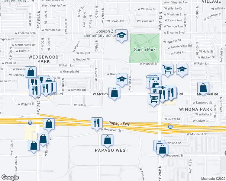 map of restaurants, bars, coffee shops, grocery stores, and more near 4620 West McDowell Road in Phoenix