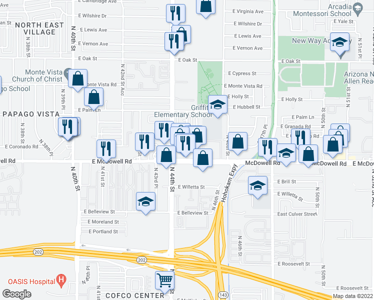 map of restaurants, bars, coffee shops, grocery stores, and more near 4530 East McDowell Road in Phoenix
