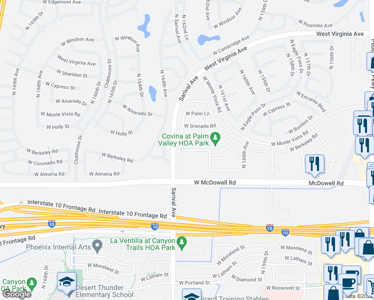 map of restaurants, bars, coffee shops, grocery stores, and more near 21178 West Coronado Road in Goodyear