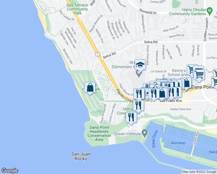 map of restaurants, bars, coffee shops, grocery stores, and more near 34012 Selva Road in Dana Point