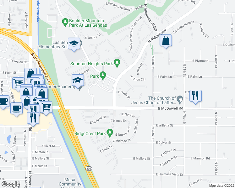 map of restaurants, bars, coffee shops, grocery stores, and more near 7405 East Oasis Street in Mesa