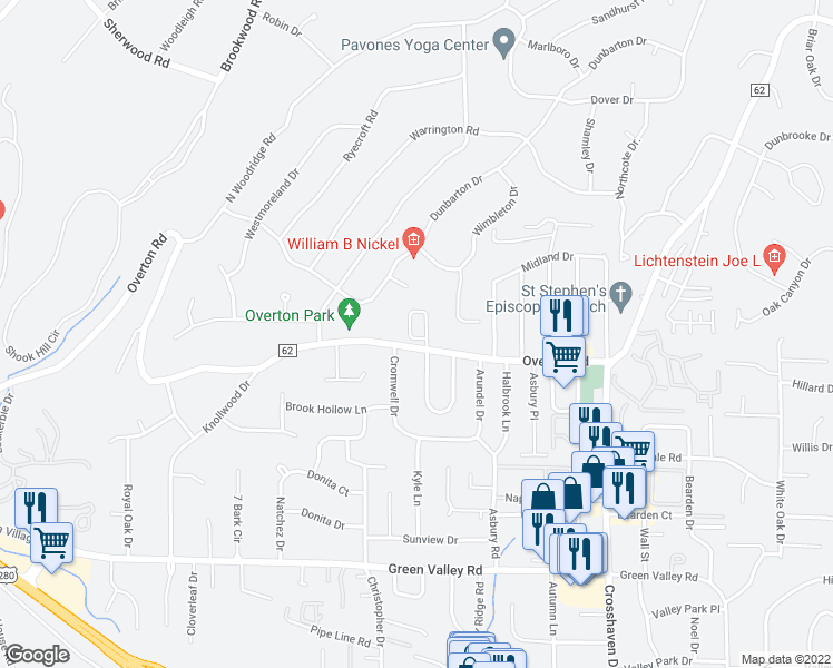 map of restaurants, bars, coffee shops, grocery stores, and more near 2799 Village Lane in Mountain Brook