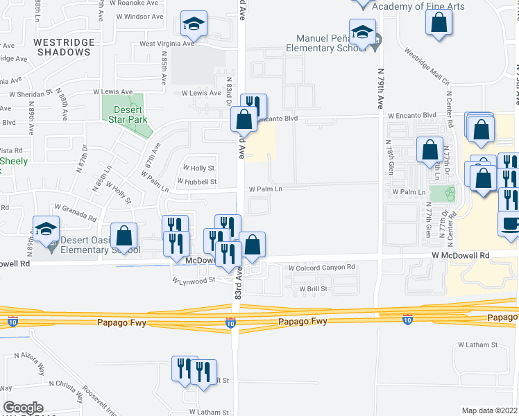 map of restaurants, bars, coffee shops, grocery stores, and more near 1801 N 83rd Ave in Phoenix