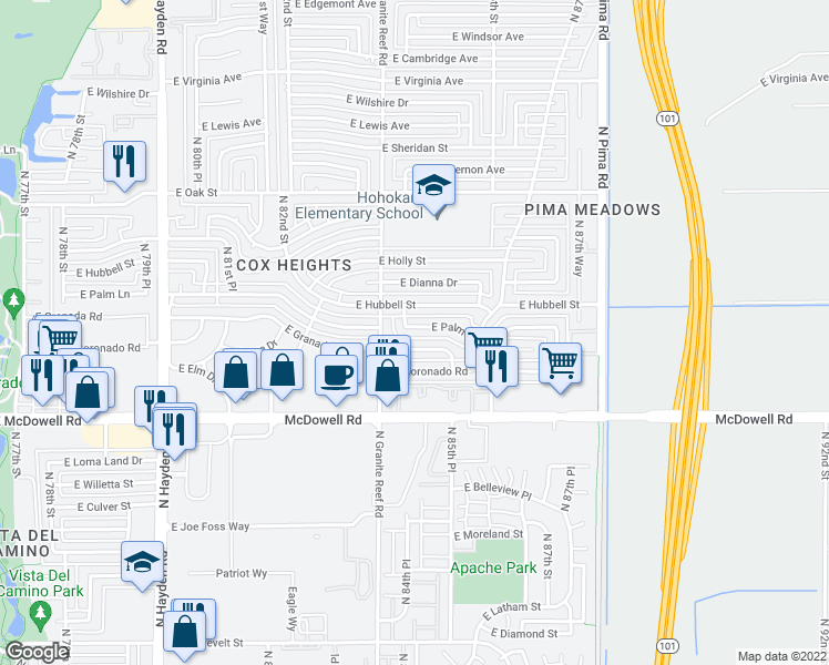 map of restaurants, bars, coffee shops, grocery stores, and more near 8427 East Palm Lane in Scottsdale