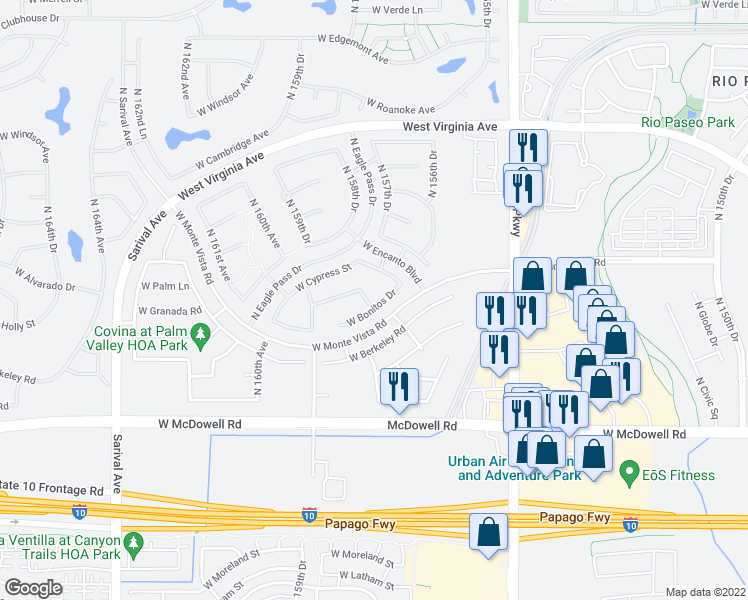 map of restaurants, bars, coffee shops, grocery stores, and more near 15788 West Bonitos Drive in Goodyear