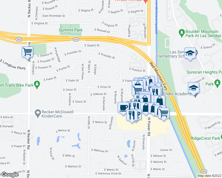 map of restaurants, bars, coffee shops, grocery stores, and more near 6533 East Orion Street in Mesa