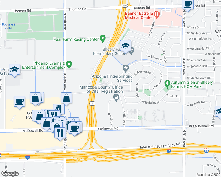 map of restaurants, bars, coffee shops, grocery stores, and more near 9525 W Monte Vista Rd in Phoenix