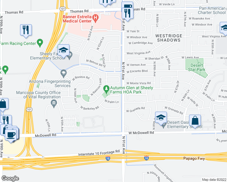 map of restaurants, bars, coffee shops, grocery stores, and more near 9127 West Monte Vista Road in Phoenix