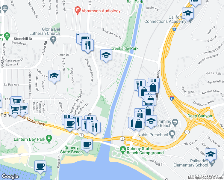 map of restaurants, bars, coffee shops, grocery stores, and more near 25611 Quail-Run in Dana Point