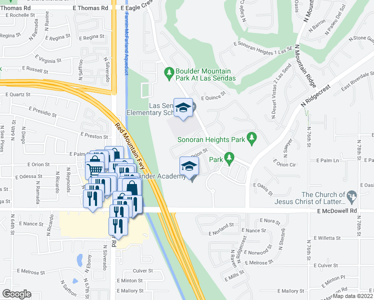 map of restaurants, bars, coffee shops, grocery stores, and more near 6902 East Pearl Street in Mesa