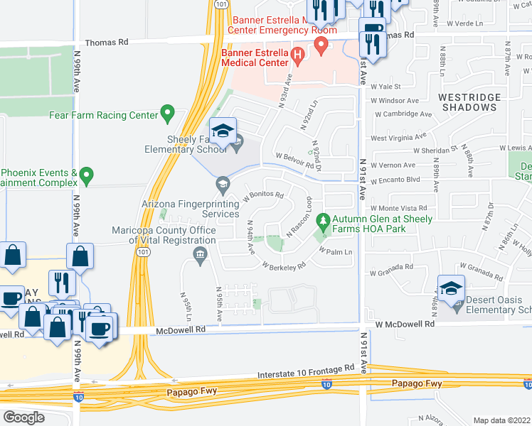 map of restaurants, bars, coffee shops, grocery stores, and more near 9327 West Bennet Plaza in Phoenix