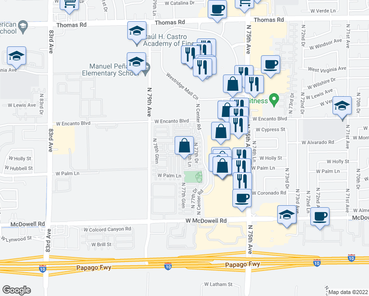 map of restaurants, bars, coffee shops, grocery stores, and more near 2107 North 77th Glen in Phoenix