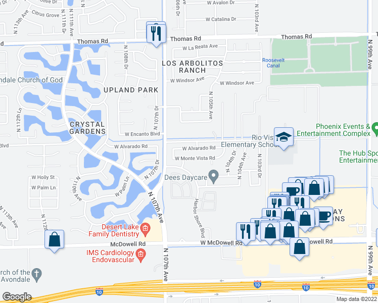 map of restaurants, bars, coffee shops, grocery stores, and more near 10617 West Alvarado Road in Avondale