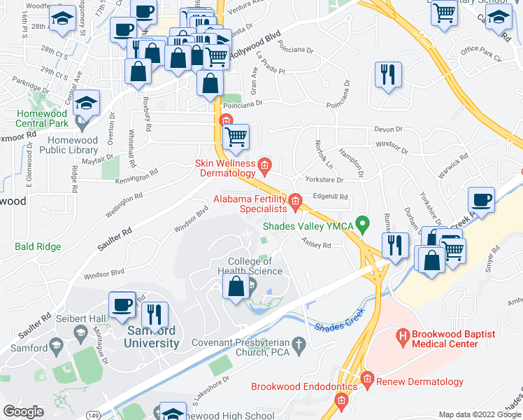 map of restaurants, bars, coffee shops, grocery stores, and more near 3450 Manor Drive in Homewood