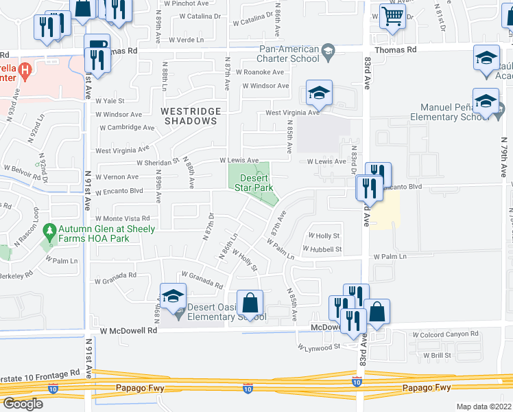 map of restaurants, bars, coffee shops, grocery stores, and more near 8637 West Encanto Boulevard in Phoenix