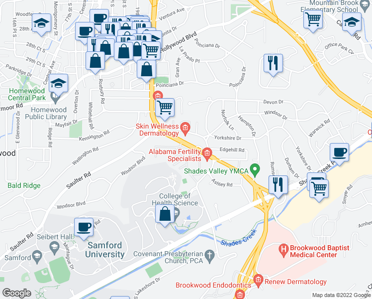 map of restaurants, bars, coffee shops, grocery stores, and more near 3417-3449 Independence Drive in Homewood