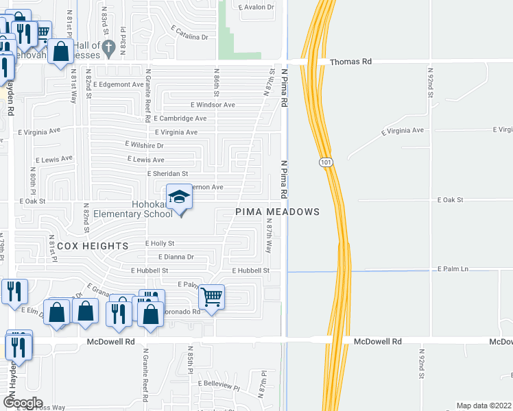 map of restaurants, bars, coffee shops, grocery stores, and more near 8725 East Oak Street in Scottsdale