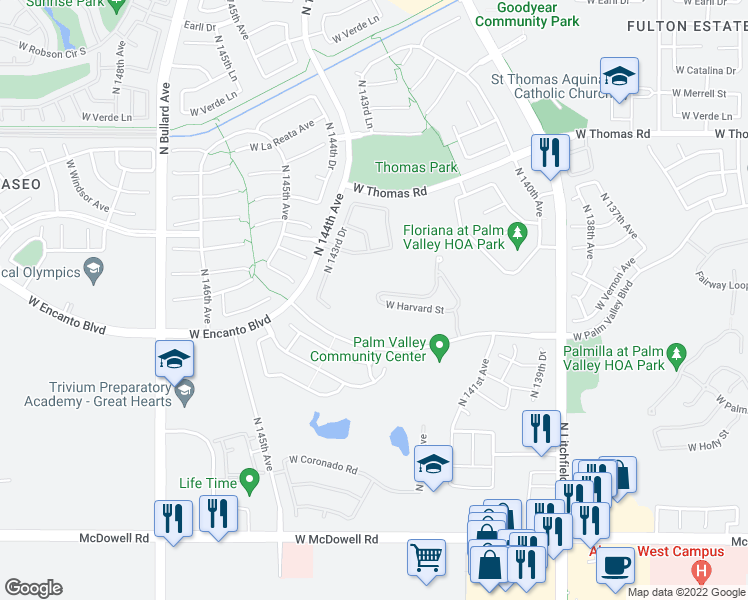 map of restaurants, bars, coffee shops, grocery stores, and more near 14297 West Harvard Street in Goodyear