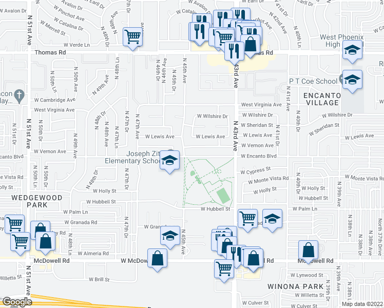 map of restaurants, bars, coffee shops, grocery stores, and more near 4436 West Encanto Boulevard in Phoenix