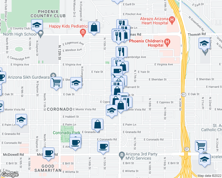 map of restaurants, bars, coffee shops, grocery stores, and more near 1519 East Harvard Street in Phoenix