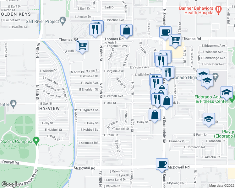 map of restaurants, bars, coffee shops, grocery stores, and more near 6854 East Vernon Avenue in Scottsdale
