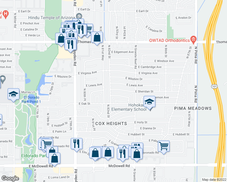 map of restaurants, bars, coffee shops, grocery stores, and more near 8209 East Sheridan Street in Scottsdale