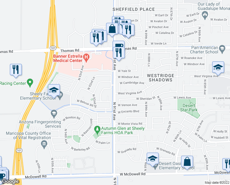 map of restaurants, bars, coffee shops, grocery stores, and more near 2316-2398 North 91st Avenue in Phoenix