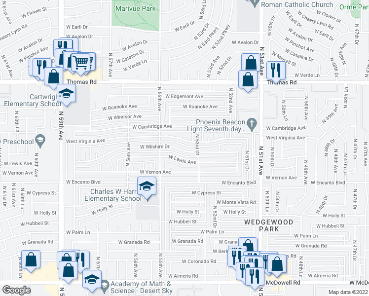 map of restaurants, bars, coffee shops, grocery stores, and more near 5402 West Wilshire Drive in Phoenix