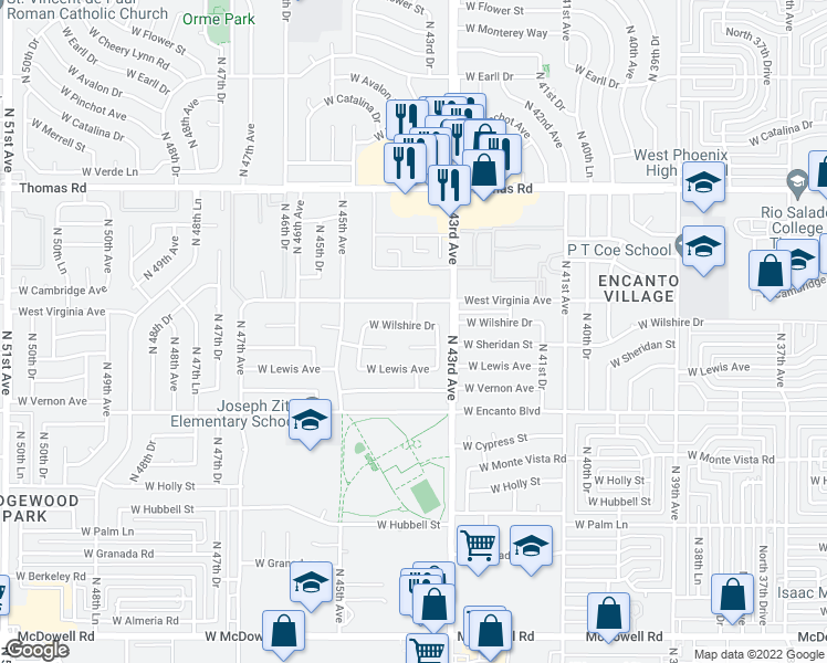 map of restaurants, bars, coffee shops, grocery stores, and more near 4401 West Wilshire Drive in Phoenix