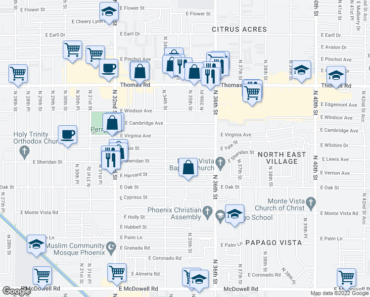 map of restaurants, bars, coffee shops, grocery stores, and more near East Yale Street in Phoenix