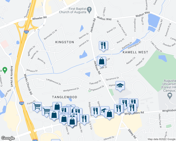 map of restaurants, bars, coffee shops, grocery stores, and more near 1355 Jackson Road in Augusta