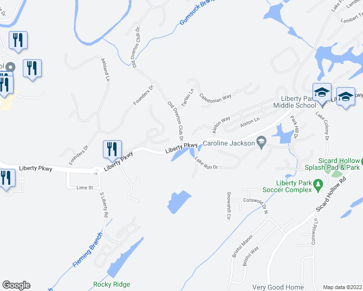 map of restaurants, bars, coffee shops, grocery stores, and more near 13061-13801 Liberty Parkway in Vestavia Hills