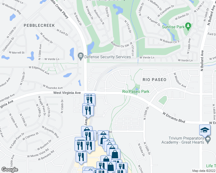map of restaurants, bars, coffee shops, grocery stores, and more near 15342 West Windsor Avenue in Goodyear