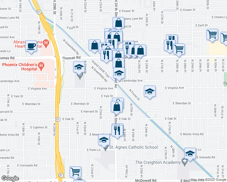 map of restaurants, bars, coffee shops, grocery stores, and more near 2616 North 24th Street in Phoenix