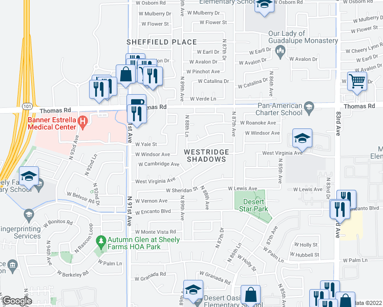 map of restaurants, bars, coffee shops, grocery stores, and more near West Cambridge Avenue in Phoenix