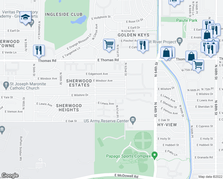 map of restaurants, bars, coffee shops, grocery stores, and more near 6101 East Cambridge Avenue in Scottsdale