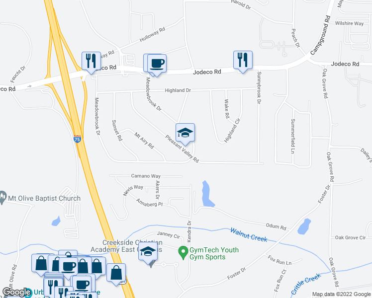 map of restaurants, bars, coffee shops, grocery stores, and more near 215 Pleasant Valley Road in McDonough